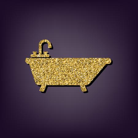bathtub: Bathtub icon. Shiny golden style vector illustration. Illustration