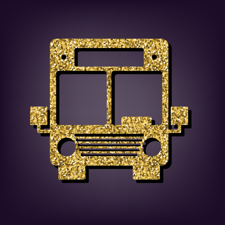 outdoor glamour: Bus icon. Shiny golden style vector illustration.