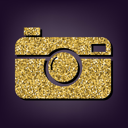 Digital photo camera icon. Shiny golden style vector illustration.