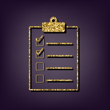 checklist: Checklist icon. Shiny golden style vector illustration.
