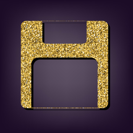 gold record: Floppy disk icon. Shiny golden style vector illustration.