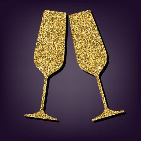Sparkling champagne glasses icon. Shiny golden style vector illustration.