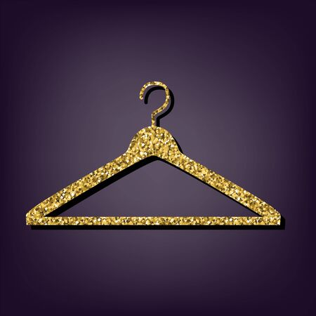 Hanger icon. Shiny golden style vector illustration.