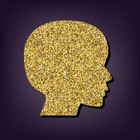 golden hair: Human head icon. Shiny golden style vector illustration. Illustration