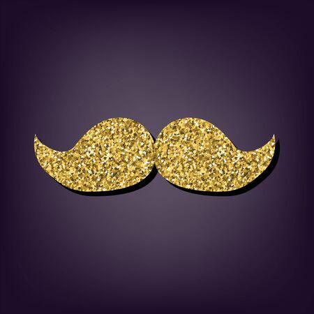 burly: Moustache icon. Shiny golden style vector illustration.