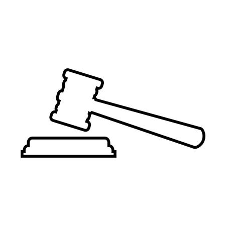 Justice hammer line icon. Vektor-Illustration auf weißem Hintergrund Vektorgrafik