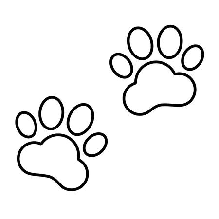 huellas de animales: El animal sigue icono de l�nea. Ilustraci�n vectorial sobre fondo blanco