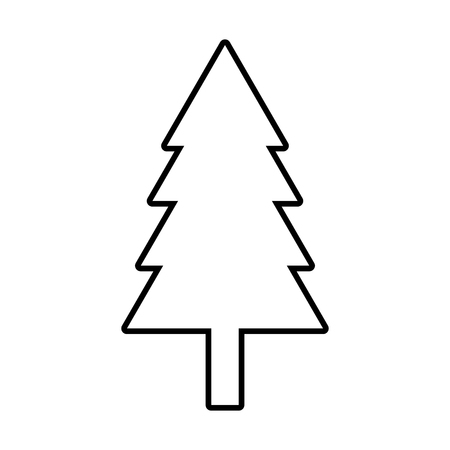 New year tree line icon. Vector illustration on white background