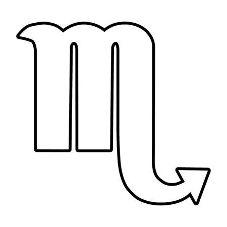 ecliptic: Zodiac sign Scorpio. Line icon. Vector illustration on white background