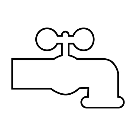 switcher: The water faucet line icon. Vector illustration on white background