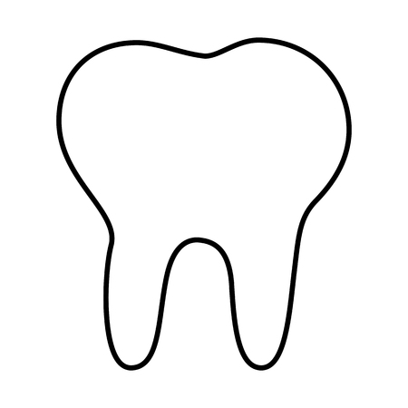 toothcare: Tooth line icon. Vector illustration on white background