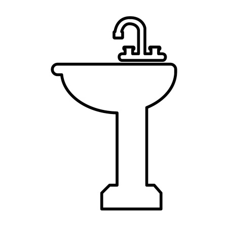 Bathroom sink line icon. Vector illustration on white background