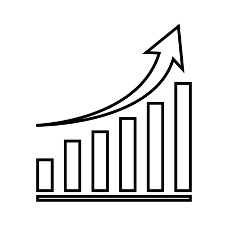 Growing graph line icon. Vector illustration on white background 矢量图像
