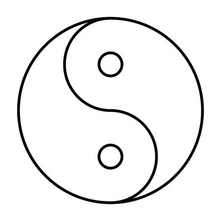 Ying yang symbol of harmony and balance.  Line icon. Vector illustration on white background Ilustração