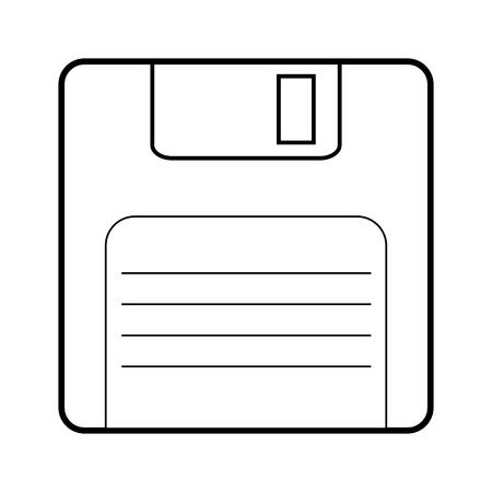 Floppy disk line icon. Vector illustration on white background