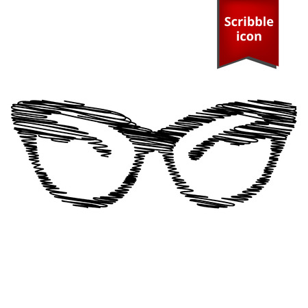 eyewear fashion: Vector illustration of stylish sunglasses with pen effect. Scribble icon for you design.