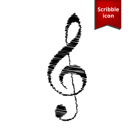 festival scales: Violin clef with pen effect. Music VECTOR. Scribble icon for you design. Illustration