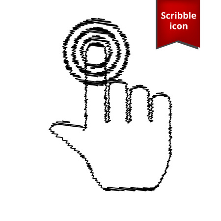 hit tech: Hand icon with pen effect. Scribble icon for you design.