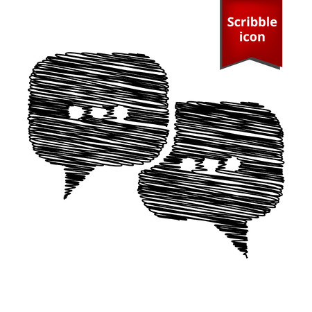 dialog baloon: Speach bubles icon with pen effect. Scribble icon for you design.