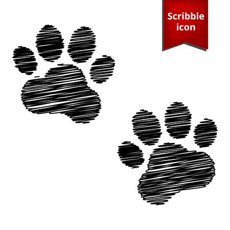 huellas de animales: Animal Tracks. Ilustración del vector con efecto de pluma. Icono Scribble para que el diseño. Vectores