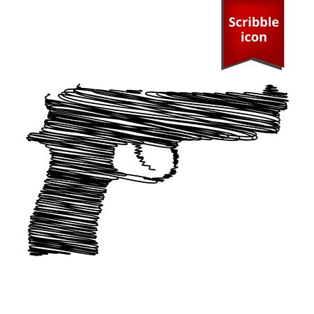 dangerous weapons: Gun isolated with pen effect. Scribble icon for you design. Illustration