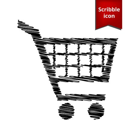simplistic icon: Shopping cart icons for online purchases  with pen effect. Scribble icon for you design.