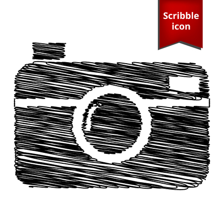 whim of fashion: digital photo camera icon with pen effect. Scribble icon for you design.