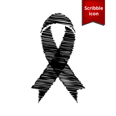 substance abuse awareness: Black awareness ribbon with chalk effect. Scribble icon for you design.
