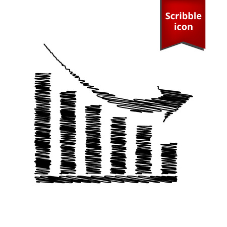 sales trend: Vector declining graph icon with chalk effect. Scribble icon for you design.