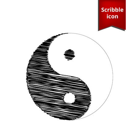 ying yan: Ying yang symbol of harmony and balance with pen effect. Scribble icon for you design.