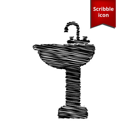 necessity: Bathroom sink with pen effect. Scribble icon for you design. Illustration
