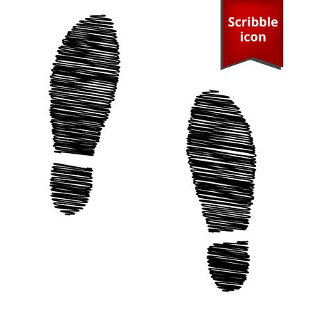imprint: Imprint soles shoes icon with pen effect. Scribble icon for you design.