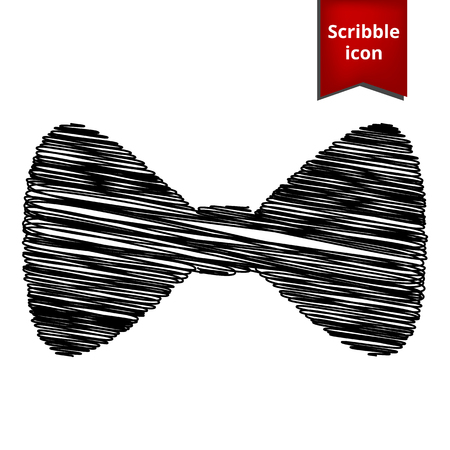 Vector Black Bow Tie icon with pen effect. Scribble icon for you design.