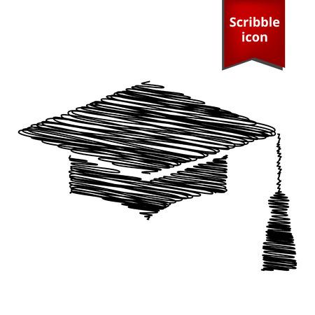 Mortar Board or Graduation Cap, Education symbol with pen effect. Scribble icon for you design.