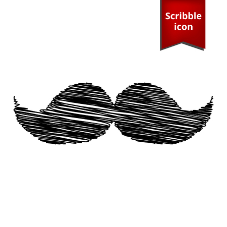 burly: Set of moustaches icon with pen effect. Scribble icon for you design.