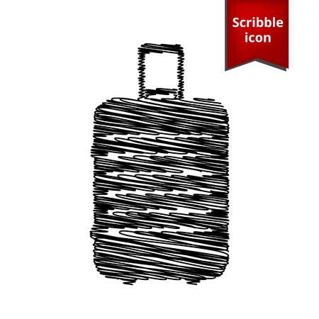 clip art feet: luggage icon with pen effect. Scribble icon for you design.