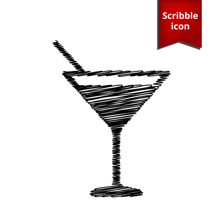coctail: Coctail icon with pen effect. Scribble icon for you design. Illustration