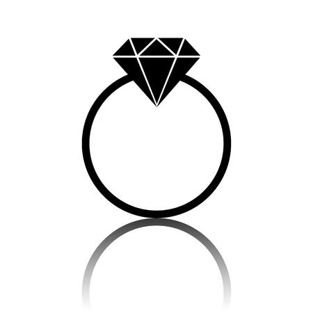 spoil: Black diamond icon. Vector illustration with shadow