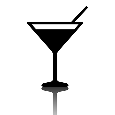 coctail: Black coctail icon. Vector illustration with shadow Illustration