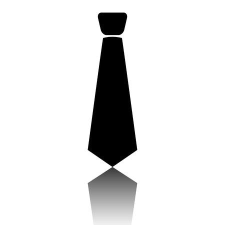 icona cravatta nera. Illustrazione di vettore con l'ombra