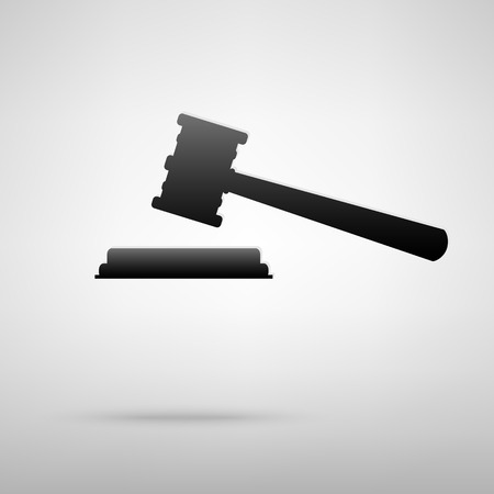 arbitrate: Justice hammer icon. Vector illustration with shadow