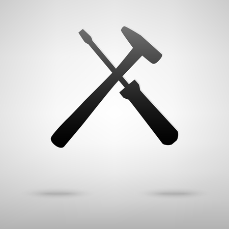 mending: Tools black icon. Vector illustration with shadow