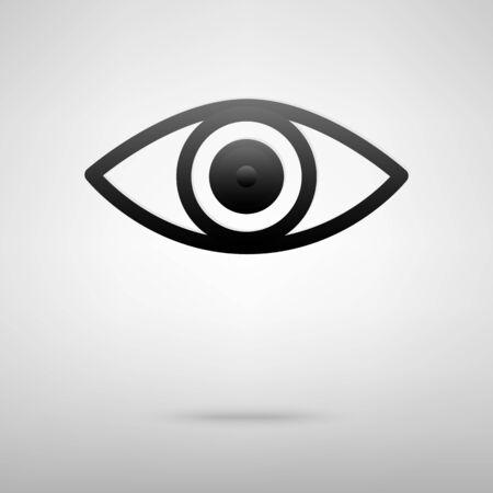 eye icon: Eye black icon. Vector illustration with shadow