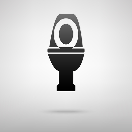 flush toilet: Toilet black icon. Vector illustration with shadow