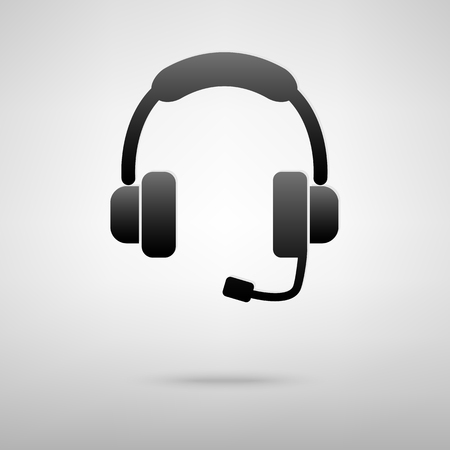 support phone operator in headset: Headset black icon. Creative vector illustration with shadow