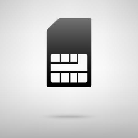 prepaid: Sim card black icon. Vector illustration with shadow Illustration