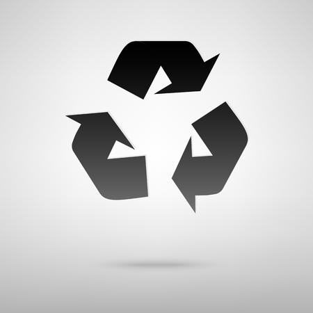 recycle icon: Recycle black icon. Vector illustration with shadow Illustration