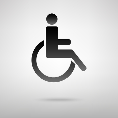 one man only: Disabled black icon. Vector illustration with shadow Illustration