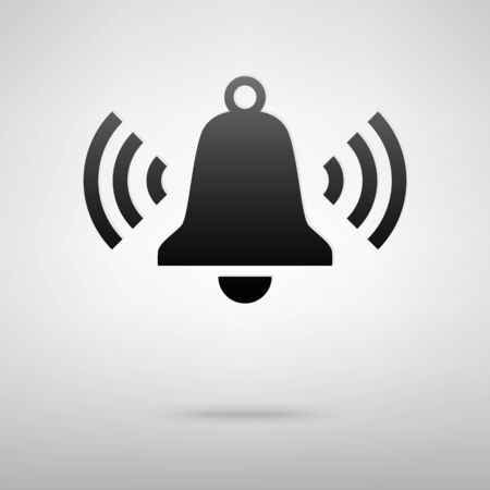 door bell: Ringing bell black icon. Vector illustration with shadow Illustration
