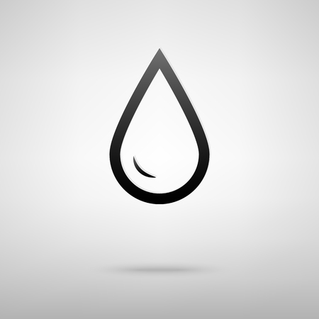 refuel: Drop of water black icon. Vector illustration with shadow Illustration